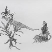 """Zeichnung """"Bauchladen"""" von Uta Siebert"""