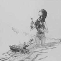 """Zeichnung """"Flut"""" von Uta Siebert"""