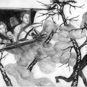 Zeichnung Nachtfahrt (Peripherie)